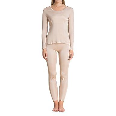 f774579eea33 Pure Silk Knit Women Underwear Long Johns Top and Bottom Set[US2,Beige]
