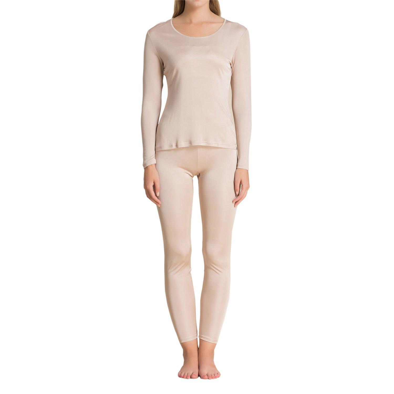 Paradise Silk Pure Silk Knit Women Underwear Long Johns Top and Bottom Set[US10,Beige]