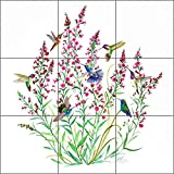 Bird Art Tile Mural Backsplash Ceramic - Hummingbirds in the Air by Susan Libby - Kitchen Shower Bathroom (18'' x 18'' - 6'' tiles)