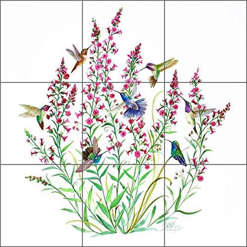 Birds Medallions (Bird Art Tile Mural Backsplash Ceramic - Hummingbirds in the Air by Susan Libby - Kitchen Shower Bathroom (12.75