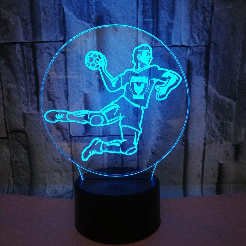 Créatif 3D Handball Nuit Lampe 7 Couleurs Changeantes Puissance USB Contact Switch Lampe Décorative Illusion Optique LED Lampe de Table Anniversaire Noël Cadeau Enfants Jouets [Classe énergétique A++] ZhuangYu