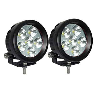 "Lightronic 3.5"" Round Compact-Size 18W 1800 Lumens 6000K Super Bright Flood Beam LED Off Road Fog & Driving Lights (2 Pack): Automotive"