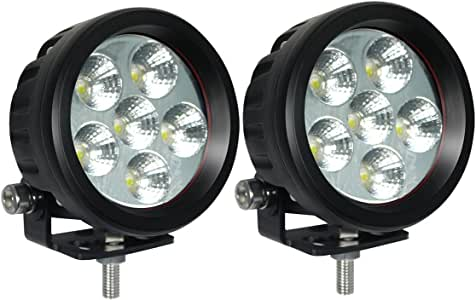 "Lightronic 3.5"" Round Compact 18W 6000K Nature White Super Bright 30° Flood Beam LED Off Road Fog & Driving Light/Backup Light/Pods Light/Day Time Running Lights, IP69 Waterproof Rating, 2 Pieces"