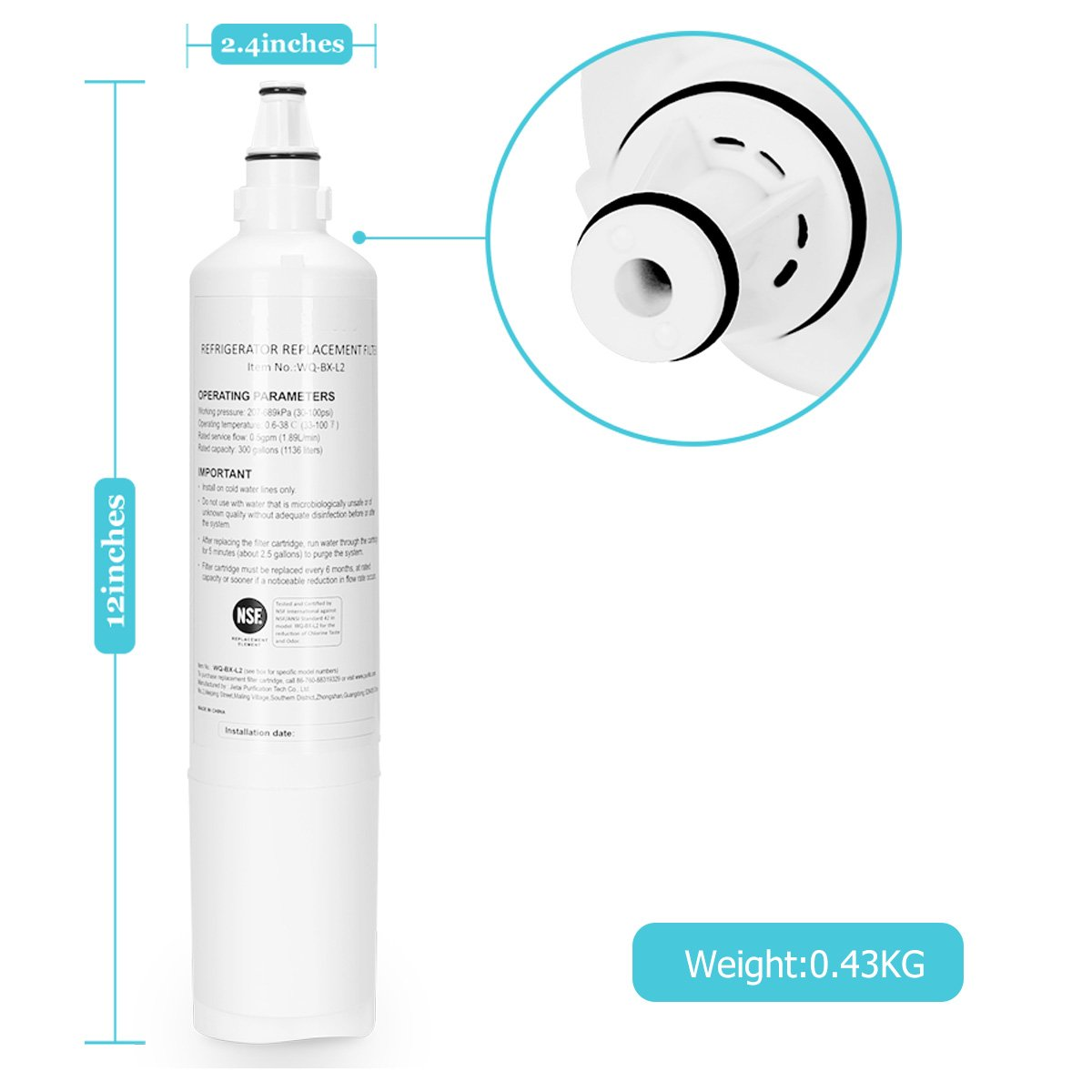 Ltd JTB-1397 ALTME 3Pack Refrigerator Water Filter 9990 Water Filter Compatible Replacement for LG LT600P,9990,5231JA2006F,5231JA2006B,5231JA2006A,469990,5231JA2006E,9990P,5231JA2006A-S,5231JA2006B-S Jietai Purification Tech Co