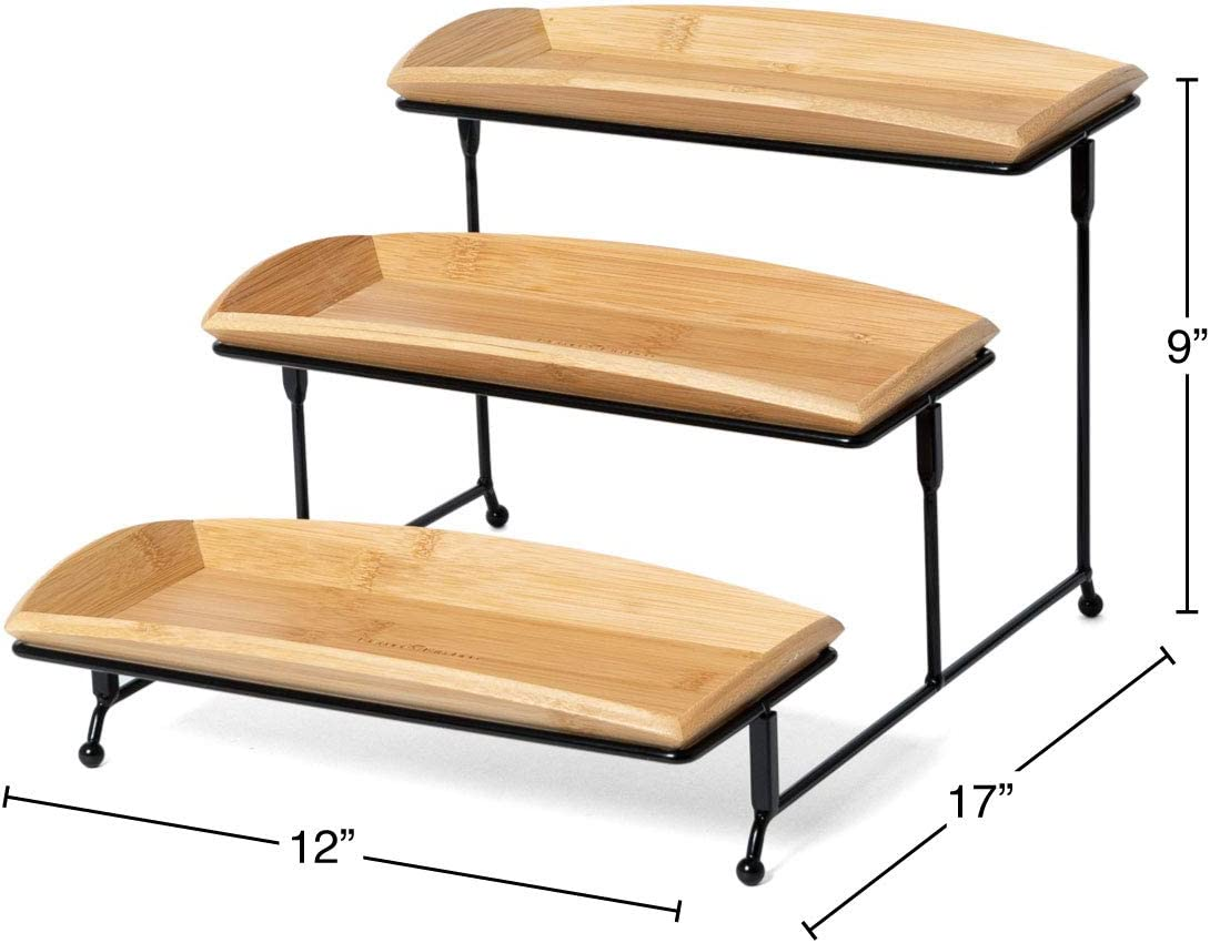 Nature S Kitchen 3 Tier Serving Tray Bamboo Rectangle 12 X 5 75 Inch Serving Platters Tiered Serving Stand For Desserts And Appetizers Amazon Ca Home Kitchen