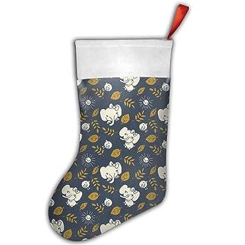 LAIER belleza elefante Festival de personalizado feliz Navidad calcetín de Papá Noel calcetines bolsa de regalo: Amazon.es: Hogar