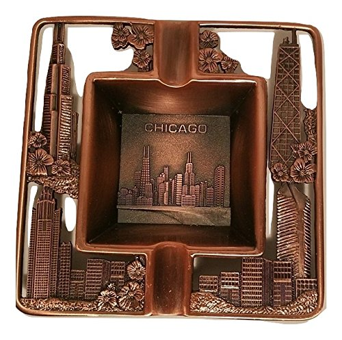 (Vintage Metal Chicago Souvenir - Square Ashtray Plate with Willis Tower, Hancock Building, and Chicago City Skyline)