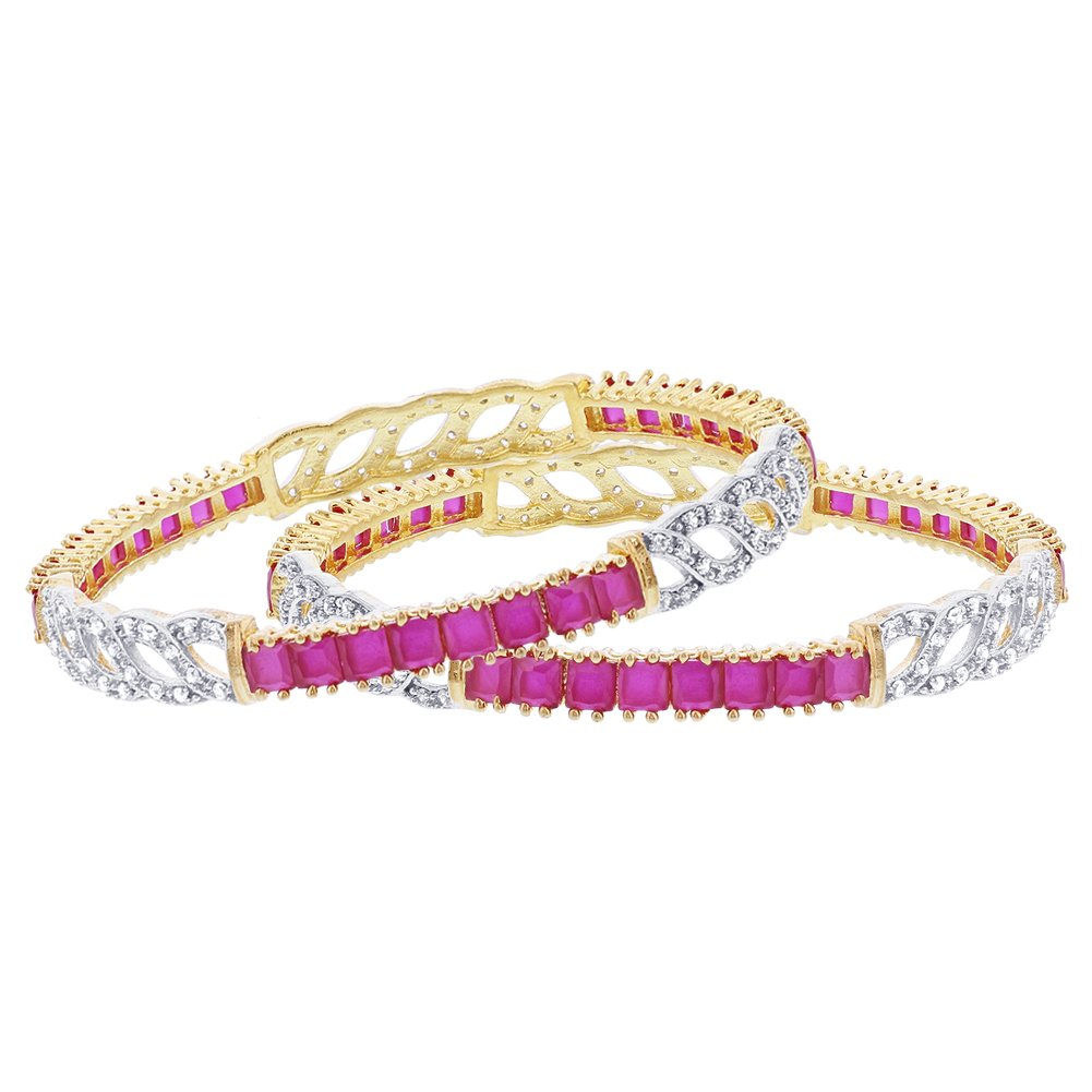 Memon Jewelers Gold Plated Ruby Color Glass with Cubic Zirconia Bollywood Indian Bangle Bracelets Size 2.4 Set of2