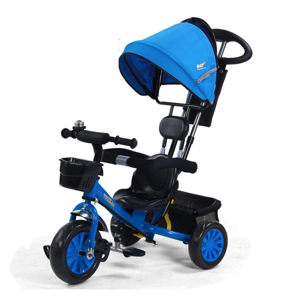 HAIZHEN マウンテンバイク 子供の三輪車は、鐘のトロリーでダブルプッシュロッドフォームホイールを調整します。1-5歳は、日除けの自転車を調節します。自転車85 * 50 * 100cm 新生児 B07DLBY1PD青