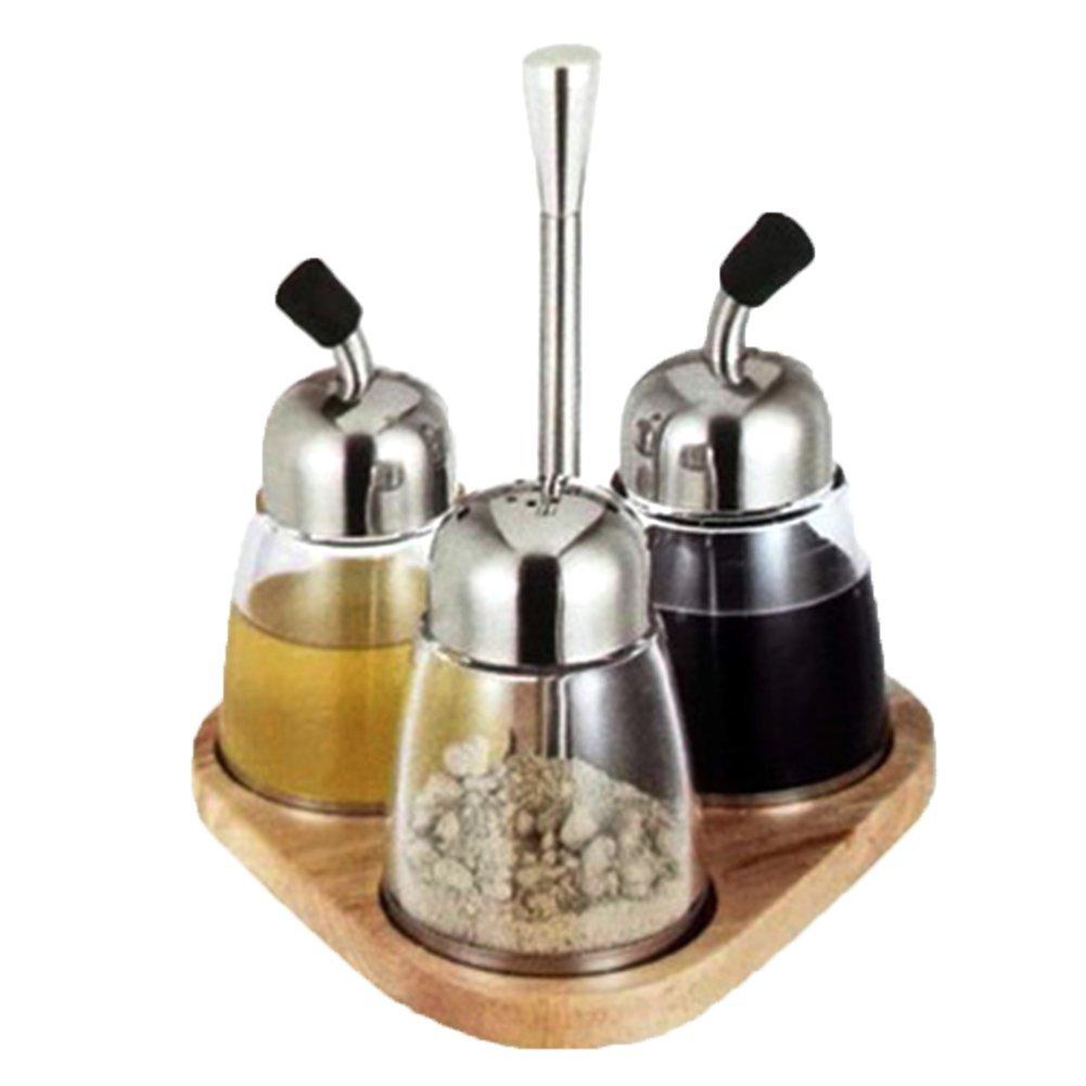 QIN.J.FANG 3Pcs/Set Condiment Set Pepper And Salt Cruet Glass Kitchen Spice Rack Set Wooden Base