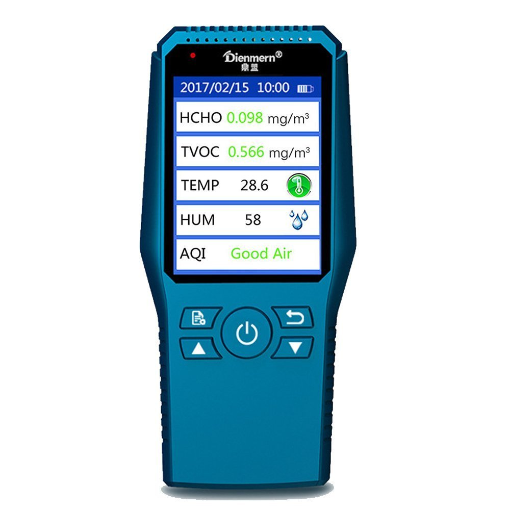 Umootek Indoor Air Quality Detector Accurate Testing Formaldehyde PM2.5/PM10 Monitor Laser Smog Table Meter TVOC Tester Temperature and humidity detector (blue)