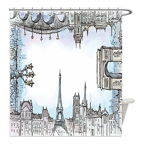 Costume Towel Hygienic (Liguo88 Custom Waterproof Bathroom Shower Curtain Polyester Paris Eiffel Towel Famous World Places French Town Cityscape in Watercolor Picture Baby Blue Grey Decorative)