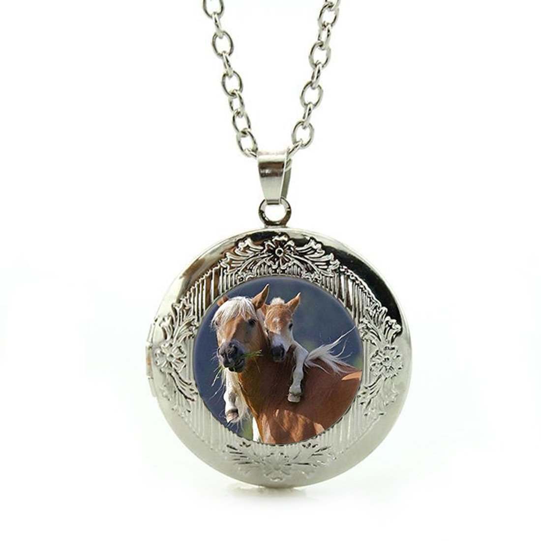 Women's Custom Locket Closure Pendant Necklace Vintage Love Horse Included Free Silver Chain, Best Gift Set