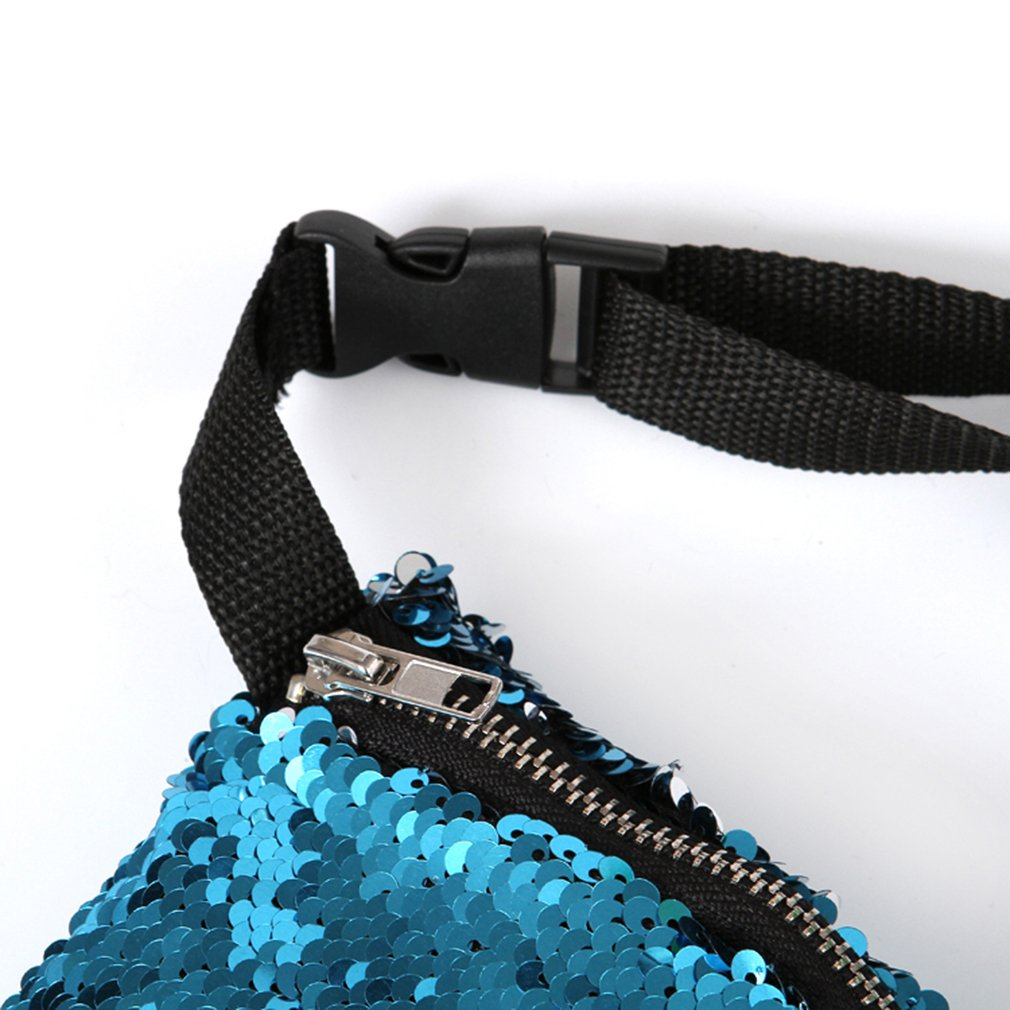 Dolland Reversible Sparkling Mermaid Glitter Sequins Waist Bag Waist Pack Wallet Sports Bag Casual Bag,Lake blue pink