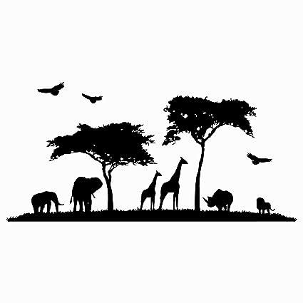 eb4e8f6b885c0 Amazon.com: Safari Africa Wall Decal Vinyl Stickers Decals Home Decor  Animal Wall Vinyl Decal African Safari Nursery Decor Jungle Bedroom Safari  x133: Home ...