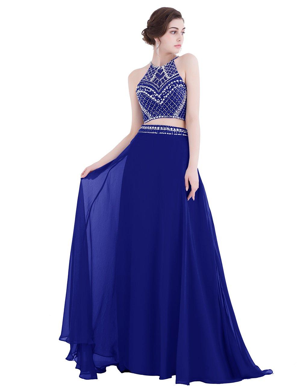 Dresstell(ドレステル) 演奏会ドレス ステージドレス ふんわりシフォン ビジュー付き ツーピースドレス ビスチェタイプ ダンスドレス 袖なし 発表会ドレス プロムドレス B06ZZ7QT9C JP21W ロイヤルブルー ロイヤルブルー JP21W
