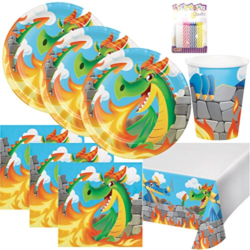 Dragons Birthday Party Supplies Pack Serves 16: Dinner Plates, Luncheon Napkins, Cups, Table Cover and Birthday Candles -