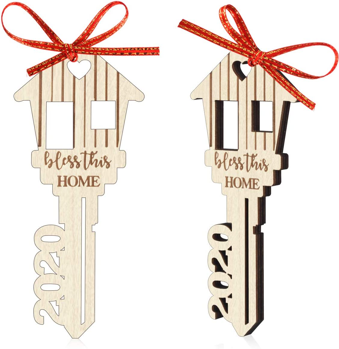 Christmas Tree Ornament Keepsake 2020 Bless This Home Wood Hanging Decoration New Home Housewarming Gift Pack of 2