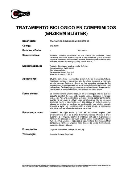 Tratamiento enzimático en blister. Envase de 30 blister de ...