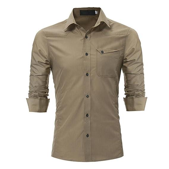 Blusa Hombre Yesmile Camiseta Blusa Superior de Manga Larga Delgada Ocasional de los Hombres de la