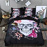 LightInTheBox 300 TC Original Design Cool Skull Duvet Cover Sets Nightmare Before Christmas 3 PC, Floral (Queen)