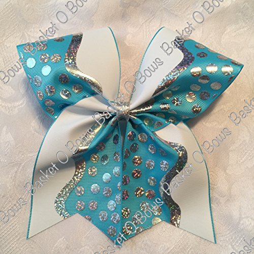 TURQUOISE Hologram Dots and Waves Hair Bow