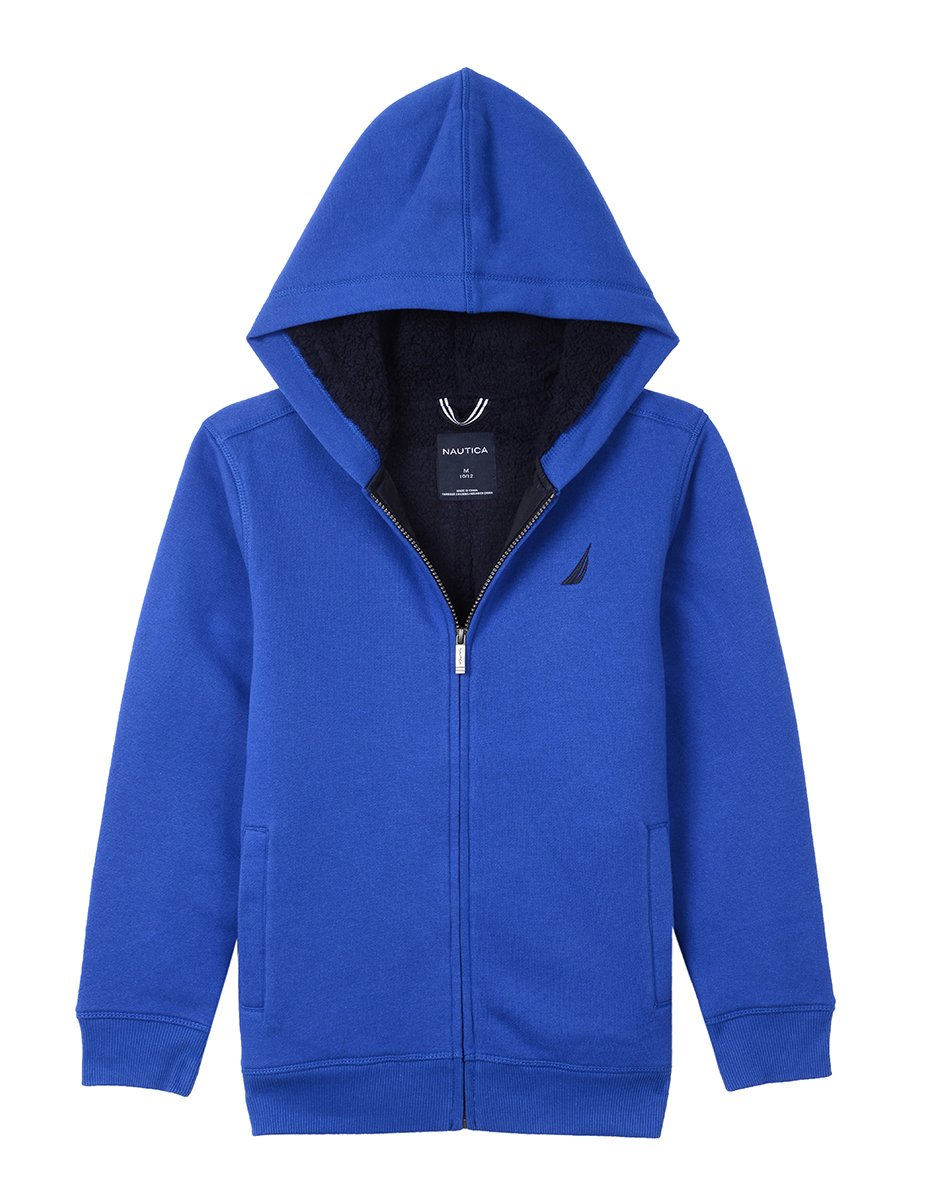 Nautica Boy's Big Expedition Sherpa Fleece Full Zip Hoodie, Cobalt, Small (8)