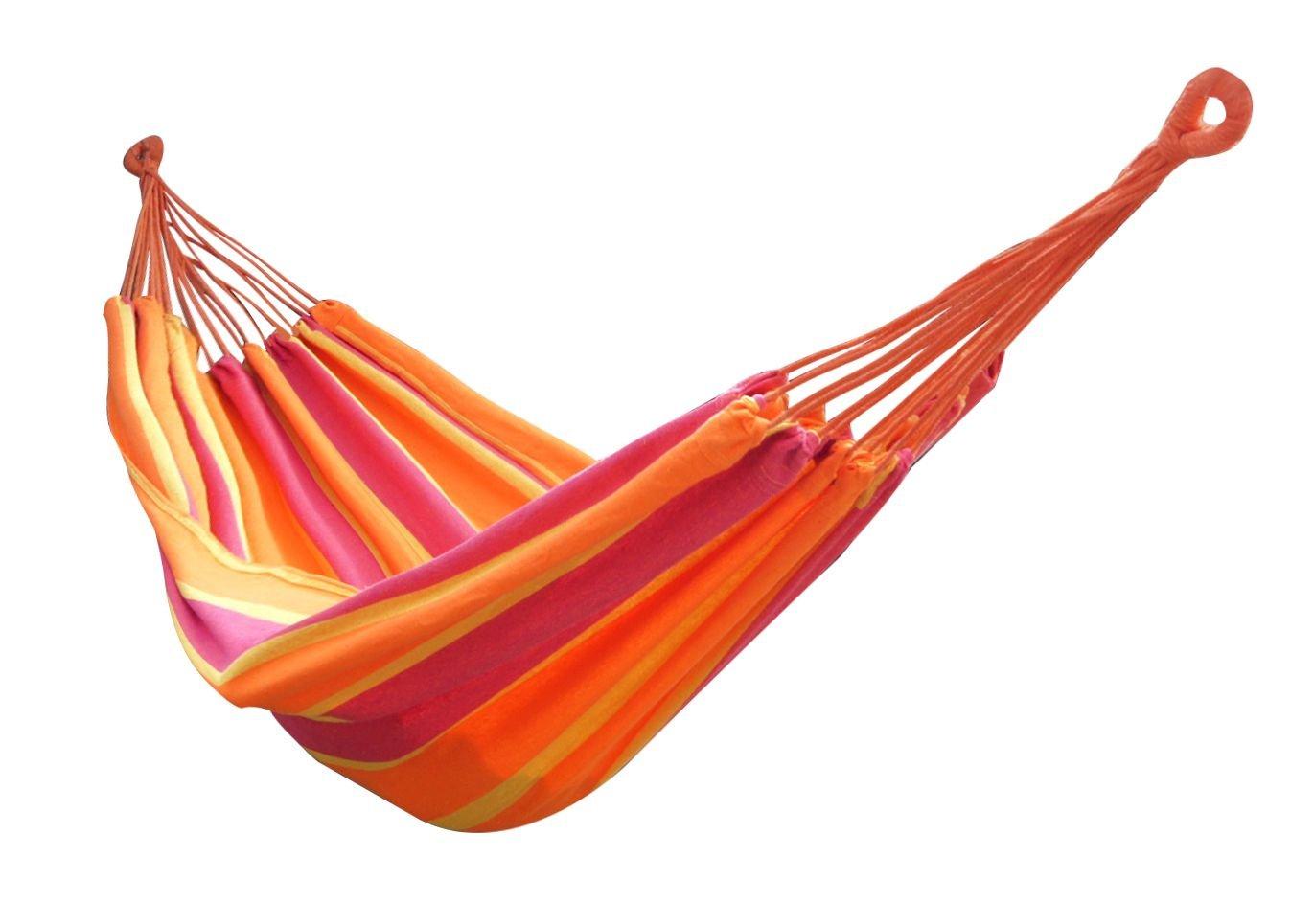 Lumaland amaca in cotone, circa 210 x 150 cm, max. 300 kg arcobaleno, tonalitá arancio kit di fissaggio e borsa