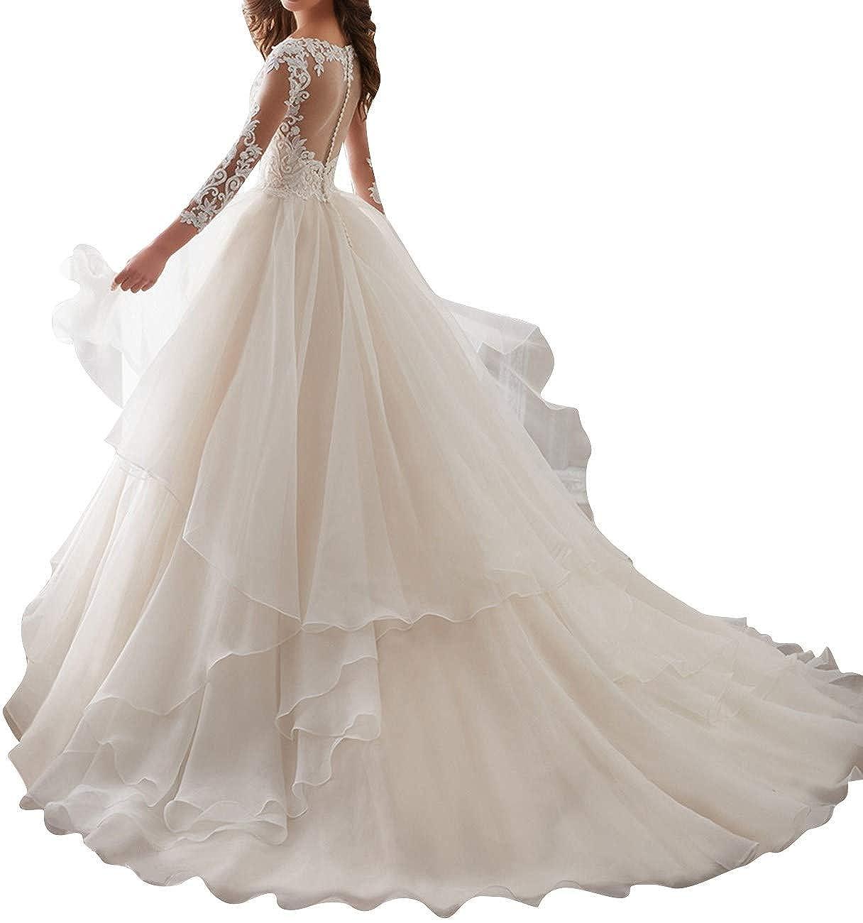 d3b6c58132a Long Sleeve Wedding Dress Sheer Lace