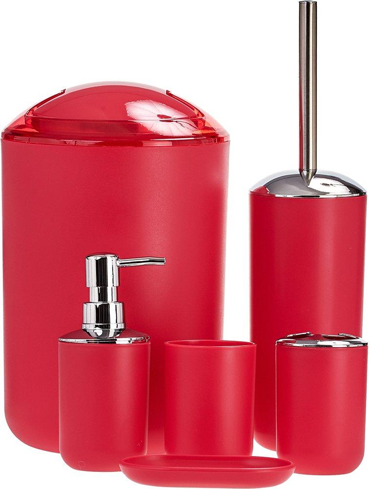 6 pezzi Set di accessori da bagno portaspazzolini cestino porta saponetta dispenser bicchiere –  colore rosso. Rayan Direct