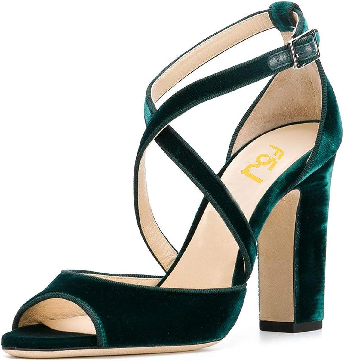 FSJ Women Elegant Award-winning store Ranking TOP5 Peep Toe Sandals Chunky Cross High Heel Pumps
