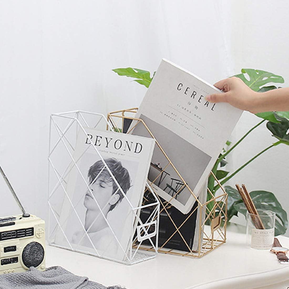 FutureShapers 2-Fach Metall Stehsammler Briefablage Dokumentenablage Desktop Zeitschriftensammler B/üro Organizer Gold