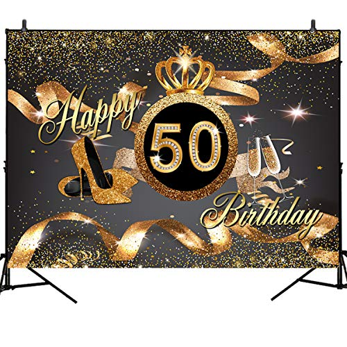 Mehofoto Happy 50th Birthday Backdrops A Golden Crown Adorns Background Gold High Heel Wine Glass Background 7X5Ft Vinyl Background for Women Birthday Party Backdrops Work Booth Background Props