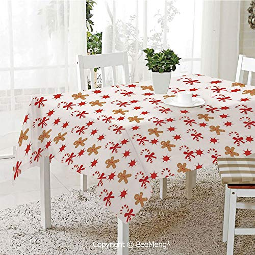 BeeMeng Large Family Picnic Tablecloth,Easy to Carry Outdoors,Gingerbread Man,Candy Cane with Bowties Red Star Figures Gingerbread Man Pattern,Sand Brown Orange,59 x 104 inches