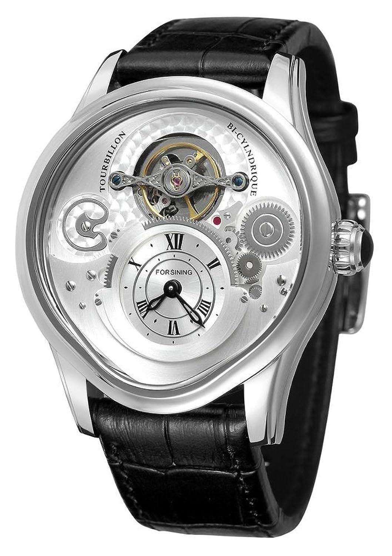 高級ファッションビジネス本革バンド自動機械防水スケルトンメンズスポーツ腕時計 ブラックホワイト B07BL5QT1Rブラックホワイト