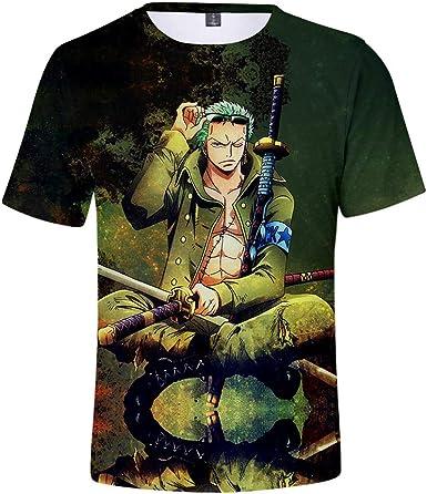 SUNCHTX One Piece Camiseta De Verano De Manga Corta Impresa En 3D Camiseta Refrescante Casual Transpirable Camisa De Polo De Cuello Redondo De Dibujos Animados Unisex: Amazon.es: Ropa y accesorios