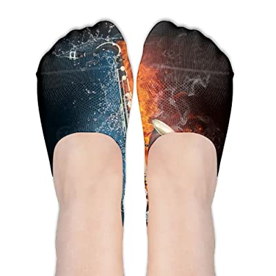 DISXHSH Thin Hidden No Show Liner Water And Fire Saxophone Athletic Running Socks Non Slip Flat Boat Line