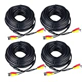 Prosshop 4-Pack 100ft Security System Video Power Cable Pre-made All-in-One Video BNC + DC30 Port Combination Cable Wire Cord with Connector for CCTV Camera Video Wire Black