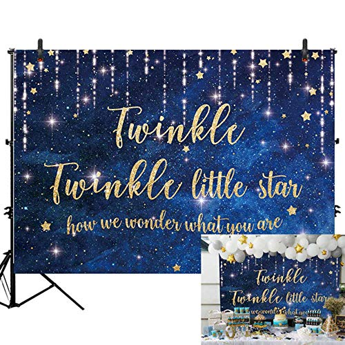 - Allenjoy 7x5ft Twinkle Twinkle Littler Star Gender Reveal Backdrop Boy or Girl Baby Shower Photography Background Newborn Happy 1st Birthday Dessert Candy Cake Table Banner Decor Photo Shoot Booth