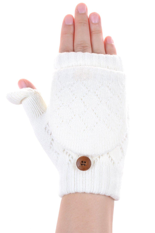 BYOS Women Winter Soft Warm Plush Fleece Lined Convertible Fingerless Knit Mittens Gloves Glittens w/ Thumb Flaps (White)