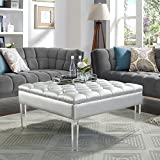 Oversized Leather Ottoman Coffee Table Coco Silver Leather Acrylic Ottoman - Cocktail Coffee Table | Square Tufted | Modern and Contemporary | Inspired Home®