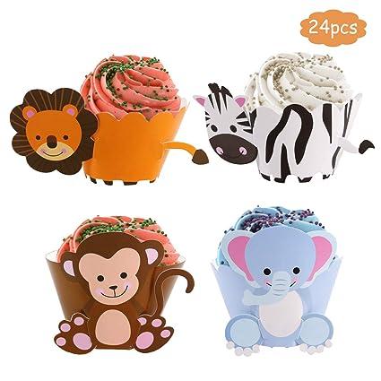 Envoltorios para cupcakes con diseño de safari en la selva ...