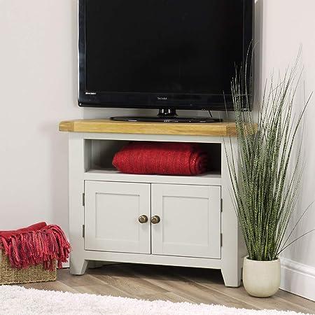 Arklow Mueble esquinero para TV, machihembrado de roble pintado de color gris: Amazon.es: Hogar