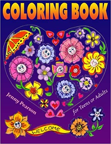 amazoncom coloring book for teens or adults stress relief relaxation marker friendly 9780692523735 jenny pearson books - Coloring Books For Teens