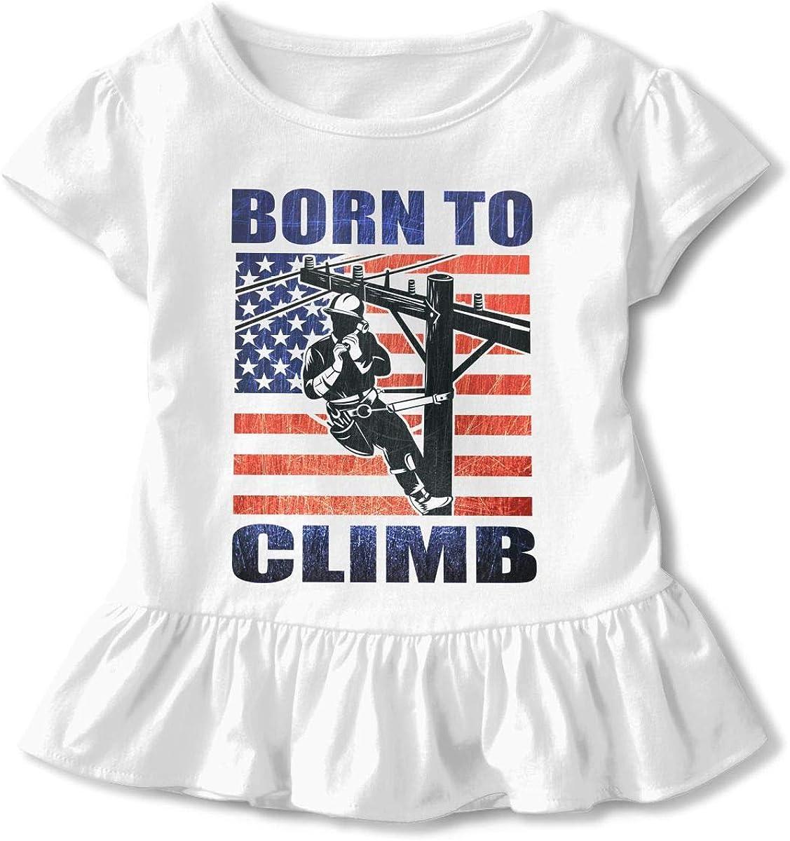 Cheng Jian Bo Lineman American Flag Toddler Girls T Shirt Kids Cotton Short Sleeve Ruffle Tee