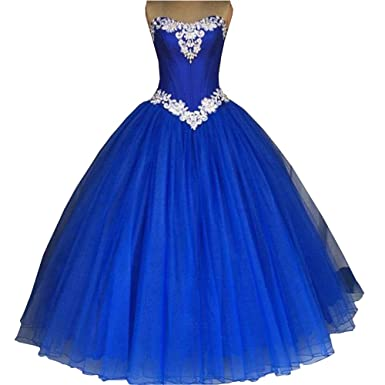 72aa60af7d0 Fannydress White Applique Ball Gown Prom Dresses Strapless Lace-up  Quinceanera Graduation Dress Royal Blue