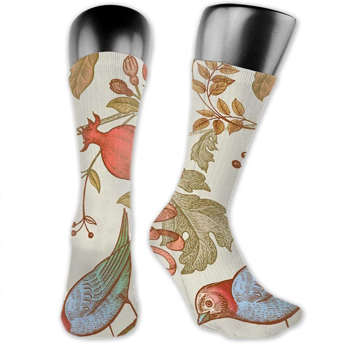 Bird Pomegranate Pattern Mens Dress Socks Fashionable Mid-Calf Socks 15.7