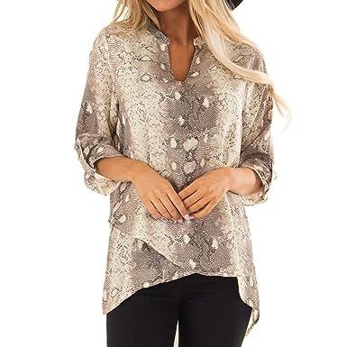 2d98c32871e243 KFSO Women s Snake Printed Long Sleeve V Neck Casual Roll Up Tunic Blouse Irregular  Hem Shirt