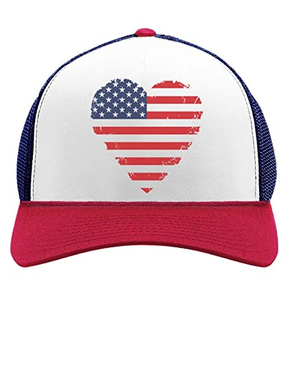 f7e8e437 American Heart Flag USA Vintage Flag Patriotic 4th of July Trucker Hat Mesh  Cap