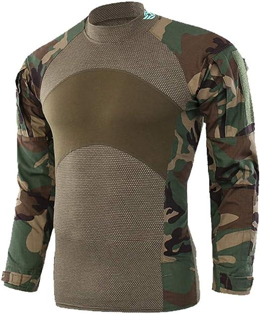 GLJJQMY - Camisa de Camuflaje para Deportes al Aire Libre, Caza, montañismo, equitación, Pesca, Primavera, Ajustada, Transpirable, Manga Larga, Camisa Deportiva, Camuflaje, plástico, Medium: Amazon.es: Hogar